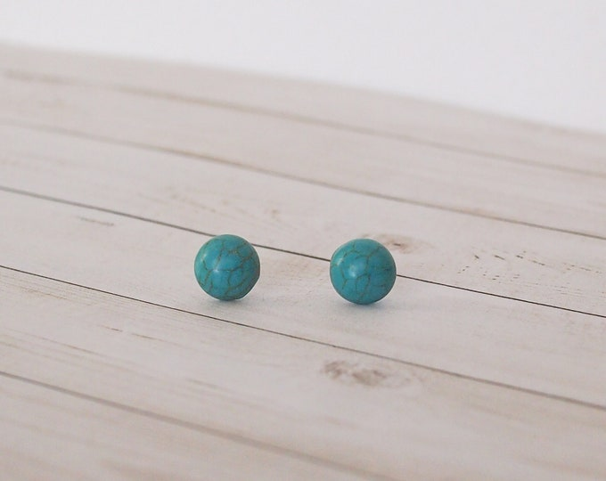 Turquoise Stone Stud Earrings, Minimal Jewelry, Stone Jewelry, Turquoise Earrings