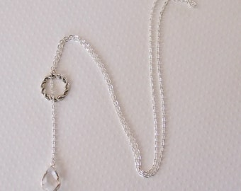 Silver Crystal Glass Silver Lariat Necklace, Silver Hera, Long Necklace, Y Necklace, Silver Jewelry