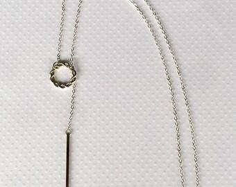 Silver Hygea Lariat Necklace, Silver Drop Bar Lariat Necklace, Silver Hygea, Drop Bar Necklace, Silver Y Necklace
