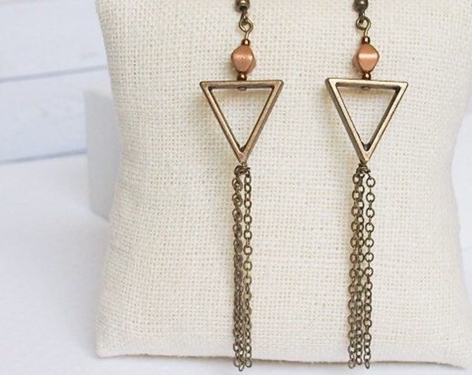 Bronze Calypso Dangle Earrings, Boho Jewelry, Bronze Jewelry, Chain Jewelry, Triangle Jewelry, Geometric jewelry