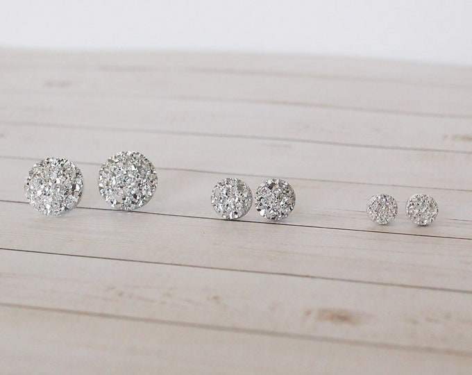 Light Silver Druzy Circle Stud Earrings, Variety of sizes, Druzy Earrings, Silver Earrings