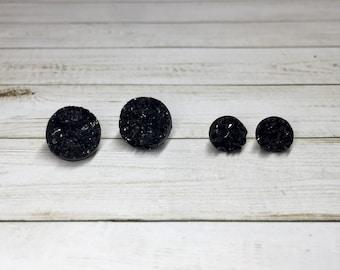 Black Druzy Circle Stud Earrings, Black Jewelry Stud Earrings