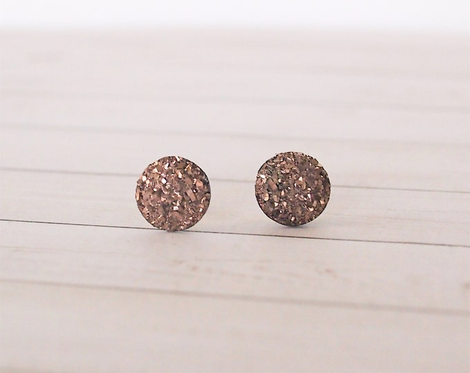Copper Druzy Circle Stud Earrings, Copper Jewelry, Stud Earrings, Druzy Jewelry