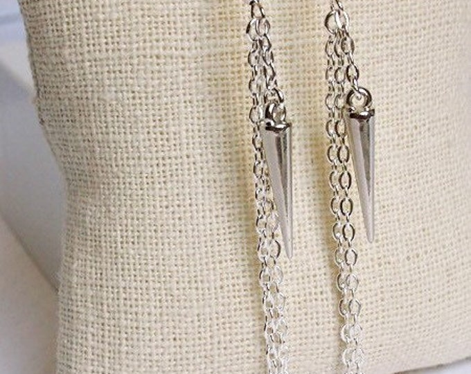 Silver Athena Drop Earrings, Dangle Earrings, Spike Jewelry, Boho Jewelry, Silver Earrings