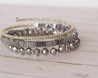Stone Silver 3x Wrap Bracelet, Silver Metallic Triple Wrap Beaded Bracelet, Layering Jewelry, Silver Bracelet