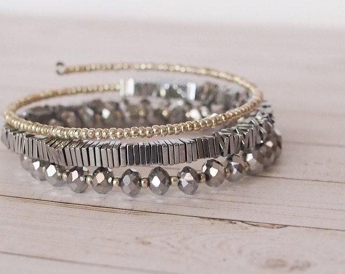 Silver Metallic Triple Wrap Beaded Bracelet, Layering Jewelry, Silver Bracelet