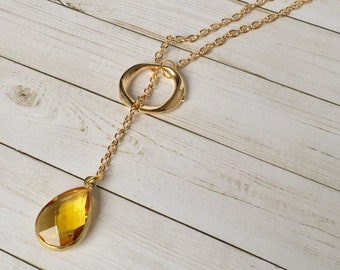 Yellow Crystal Pendant Gold Lariat Necklace, Gold Hera, Crystal Jewelry, Gold Y Necklace, Chain Jewelry, Long Necklace