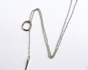 Silver Athena Lariat Necklace, Spike Jewelry, Drop Lariat, Spike Lariat, Long Necklace, Silver Jewelry