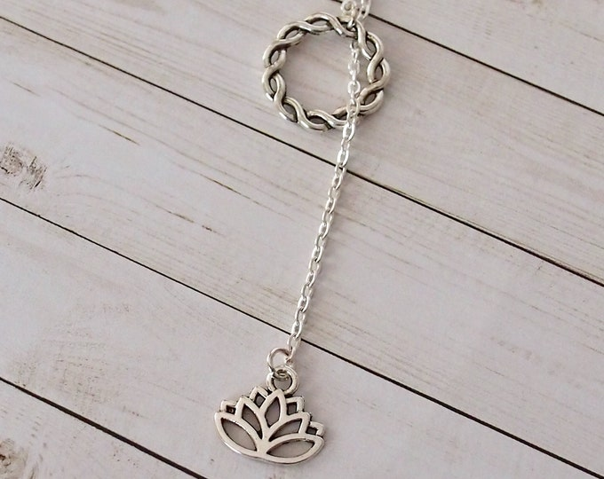 Silver lotus flower slip on lariat necklace, y necklace, long necklace, delicate jewelry, gold jewelry, flower jewelry, gift for her