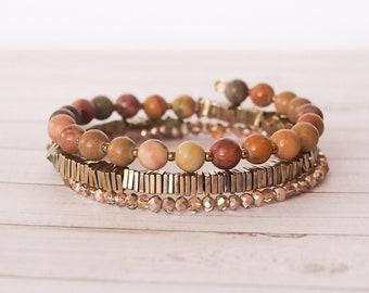 Bronze Beauty 3x Wrap Bracelet, Bronze gold memory wire triple wrap bracelet, memory wire bracelet, layered bracelet, stone bracelet