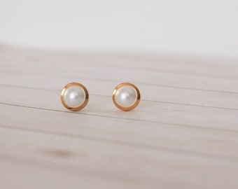 Gold and Silver Swarovski Pearl Stud Earrings