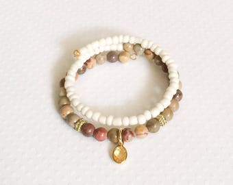 Earth tone beaded double wrap bracelet, memory wire bracelet, gift for her
