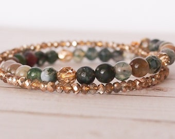 Autumn Falls 2x Wrap Bracelet, Green and gold double wrap bracelet, boho jewelry, stack bracelet, one size fits all