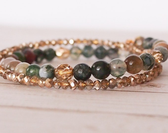 Green and gold double wrap bracelet, boho jewelry, green and gold beaded bracelet, stack bracelet, one size fits all