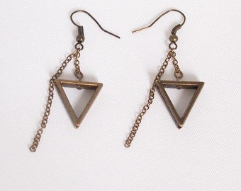 Bronze Calypso Dangle Earrings, Triangle Jewelry, Geometric Jewelry, Simple Jewelry, Triangle Earrings, Bronze Jewelry