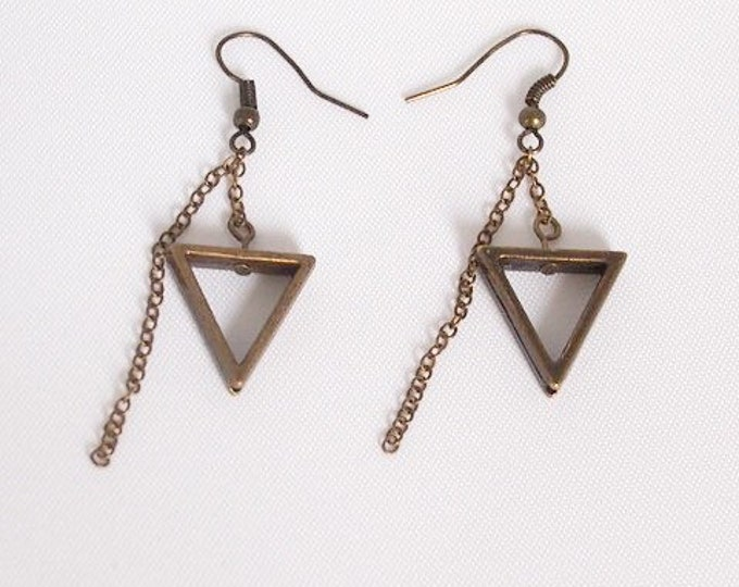 Bronze Calypso Dangle Earrings, Triangle Jewelry, Geometric Jewelry, Simple Jewelry, Triangle Earrings, Bronze Jewelry
