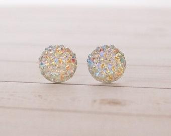 Iridescent Druzy Stud Earrings, Druzy Earrings, Minumal Jewelry