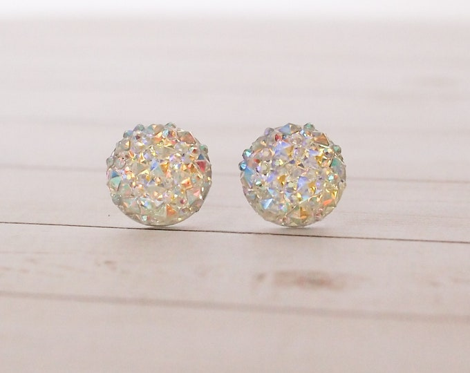 Iridescent Druzy Stud Earrings, Druzy Earrings, Minumal Jewelry