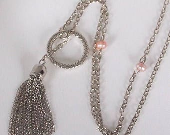 Silver Harmonia, Tassel slip on lariat with pink pearls, y necklace, long necklace, tassel necklace, pearl jewelry, gift for her