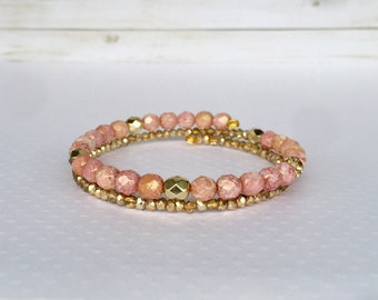 Dusty Rose 2x Wrap Bracelet, Pink and Gold Double Wrap Beaded Bracelet, Stackable Bracelet, Layer Jewelry, Beaded Jewelry