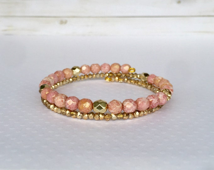Pink and Gold Double Wrap Beaded Bracelet, Dusty Rose Jewelry, Stackable Bracelet, Layer Jewelry, Beaded Jewelry
