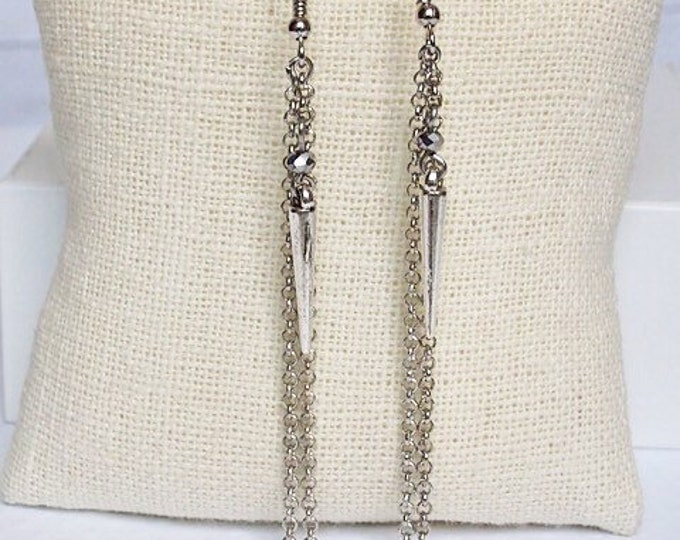 Silver Athena Drop Earrings, Bead Earrings, Dangle Earrings, Spike Jewelry, Boho Jewelry, Silver Earrings