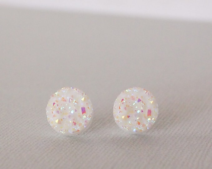 White Druzy Circle Stud Earrings, Size Variety, White Jewelry, Stud Earrings