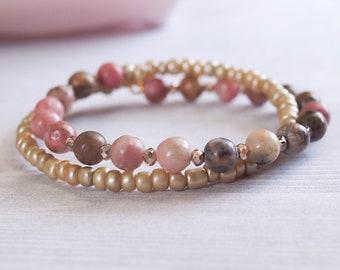 Shades of Pink 2x Wrap Bracelet, Double Wrap Beaded Bracelet, Stackable Bracelet, Pink Bead Jewelry, Wrap Bracelets