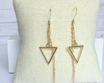 Gold Calypso Dangle Earrings, Triangle Jewelry, Geometric Jewelry, Simple Jewelry, Triangle Earrings