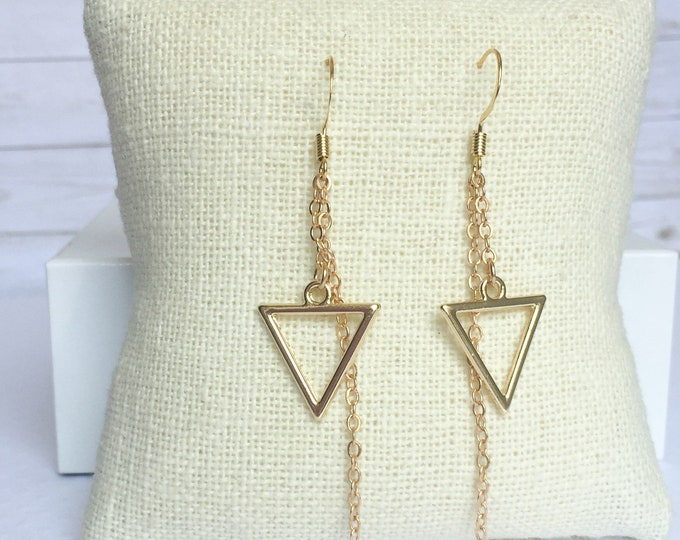 Gold Calypso Dangle Earrings, Triangle Jewelry, Geometric Jewelry, Simple Jewelry, Triangle Earrings