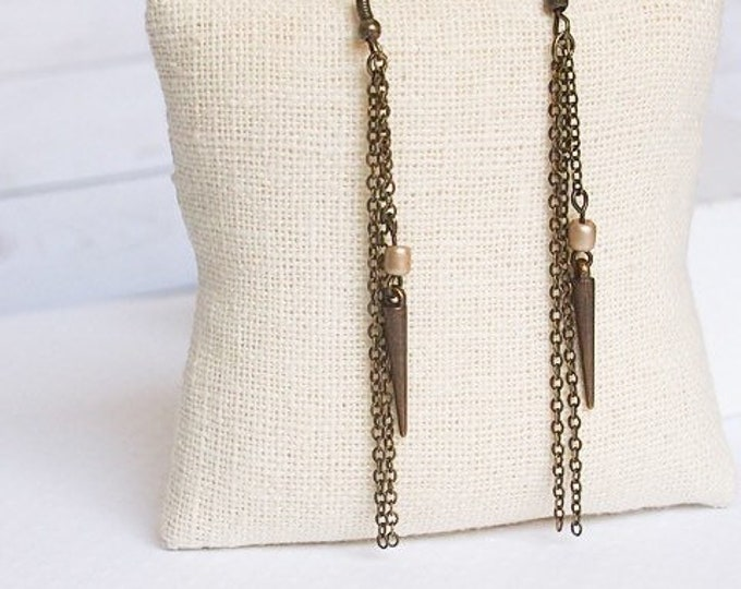 Bronze Athena Drop Earrings, Chain and Bead Earrings, Dangle Earrings, Spike Jewelry, Boho Jewelry, Bronze Earrings
