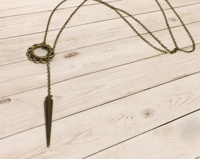 Bronze Spike Slip On Lariat Necklace, Y Necklace, Boho Jewelry