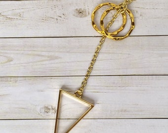 Gold Triangle Lariat Necklace, Gold Calypso, Triangle Jewelry, Gold Jewelry, Gift for Her, Anti-tarnish Chain