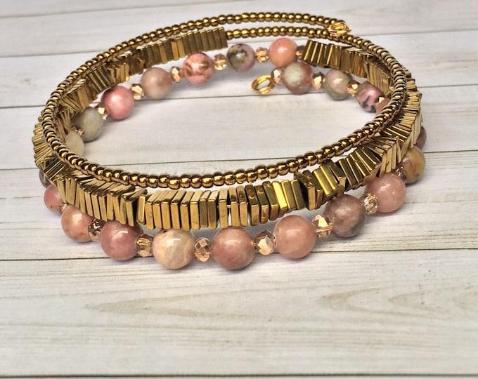 Shades of Pink 3x Wrap Bracelet, Triple Wrap Bracelet, Beaded Bracelet, Memory Wire Bracelet, Stackable Bracelet