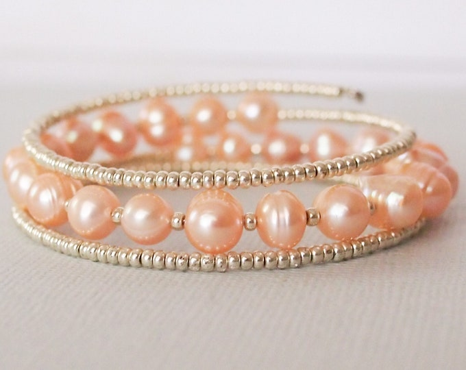 Pink Freshwater Pearl Triple Wrap Braclet with Silver Beads, Beaded Jewelry, Pink Pearl Jewelry, Beaded Bracelet