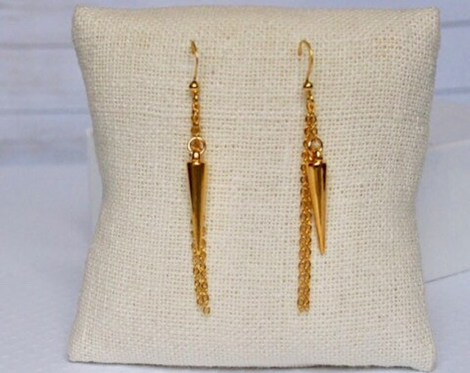 Gold Athena Drop Earrings, Dangle Earrings, Spike Jewelry, Boho Jewelry, Gold Earrings, 14k gold plated