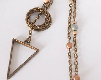 Bronze Calypso Lariat, Blue tan and gold beads, Y necklace, brass jewelry, triangle jewelry, boho jewelry, earthy jewelry, unique gifts