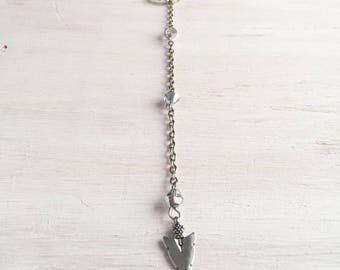 Silver Enyo, Silver Arrowhead Slip on Lariat with Crystal Beads, Y Necklace, Long Necklace, Arrow Necklace, Gift for Her