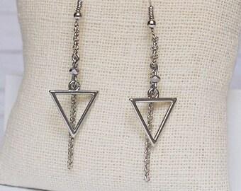Silver Calypso Dangle Earrings, Bead Earrings, Triangle Jewelry, Geometric Jewelry, Simple Jewelry, Triangle Earrings