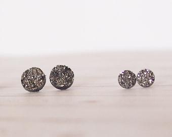 Dark Silver Druzy Circle Stud Earrings, Silver Earrings