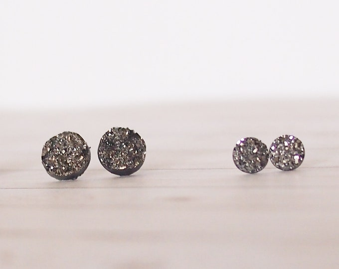 Dark Silver Druzy Circle Stud Earrings, Silver Earrings