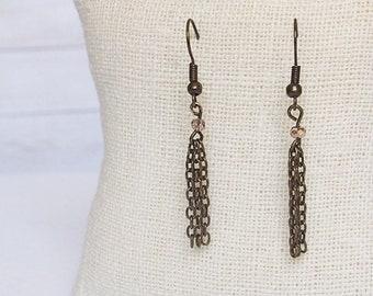 Bronze Harmonia Drop Earrings, Tassel Earrings, Bronze Dangling Earrings, Bronze Tassel Jewelry, Simple Jewelry