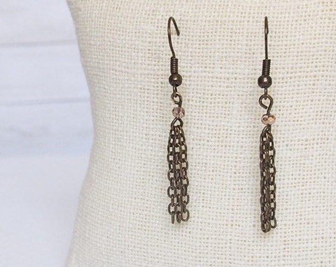 Bronze Harmonia Drop Earrings, Tassel Earrings, Bronze Dangling Earrings, Bronze Tassel Jewelry, Simple Jewelry