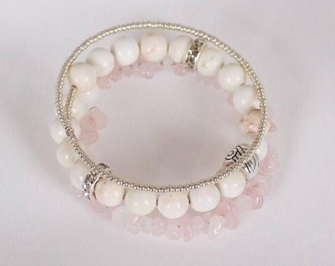 Spring Mix beaded triple wrap bracelet, quartz bracelet, stack bracelet