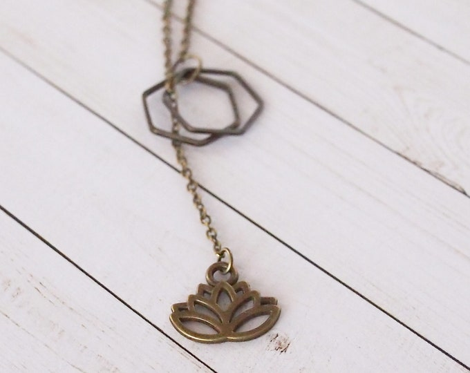 Bronze lotus flower slip on lariat necklace, y necklace, long necklace, delicate jewelry, gold jewelry, flower jewelry, gift for her