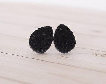 Black Druzy Teardrop Stud Earrings, Teardrop Jewelry, Stud Jewelry