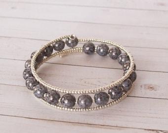 Cool Tones 3x Wrap Bracelet, Silver beaded triple wrap bracelet, memory wire jewelry, silver jewelry, bead jewelry