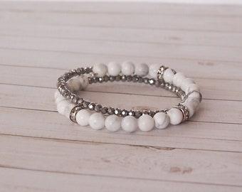 Snow White 2x Wrap Bracelet, White and Silver Beaded Double Wrap Bracelet, Snow White Wrap Bracelet, Beaded Bracelet, White Jewelry