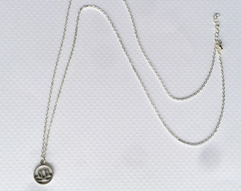 Silver Lotus Long Necklace, Silver Aphrodite, Silver Necklace, Lotus Jewelry