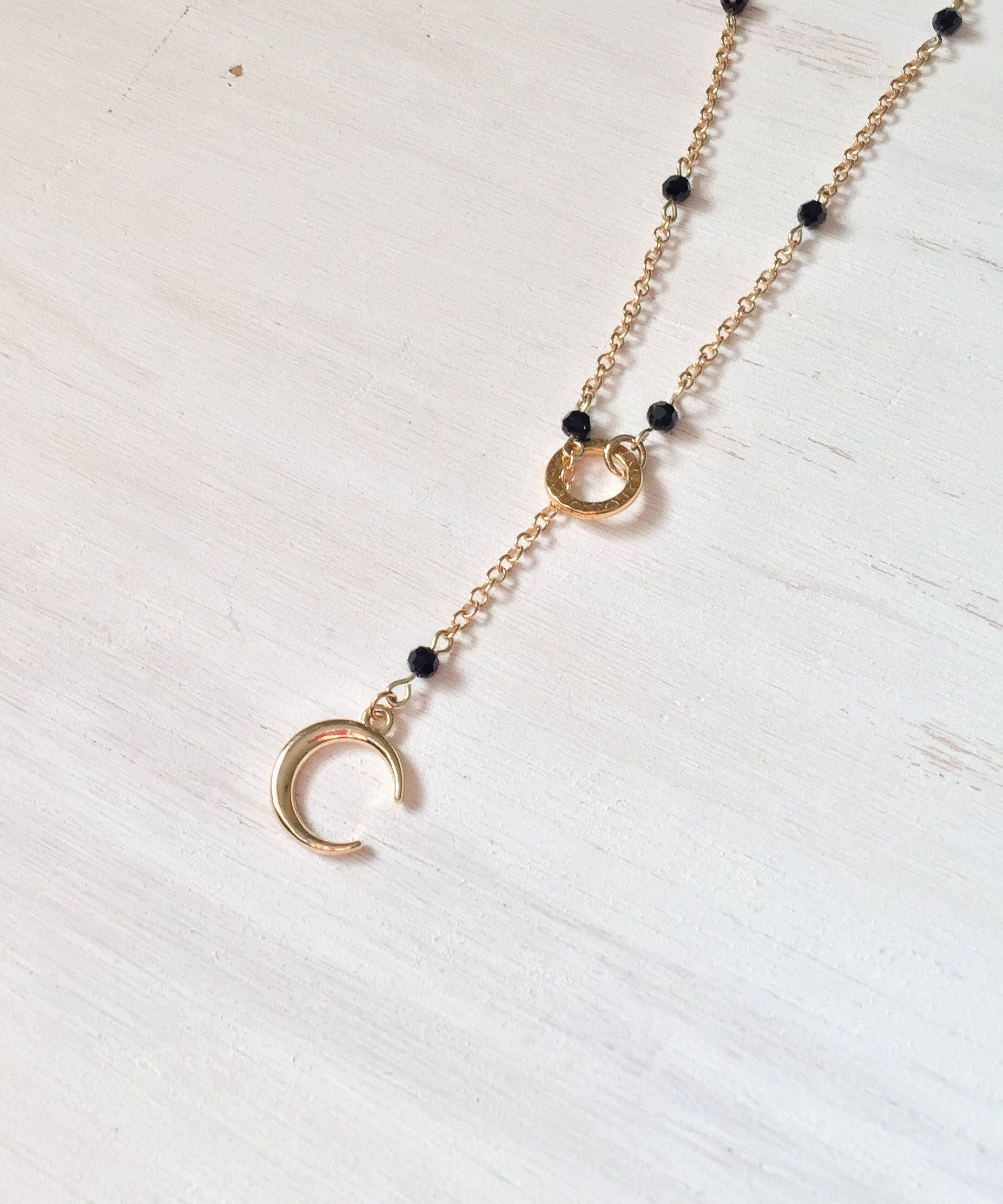 Crescent Long Necklace - Gold Pieces